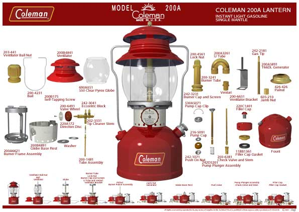 Modern Coleman Parts Diagrams | Classic Pressure Lamps & Heaters